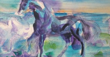 A multicolored horse against a multi-colored landscape.