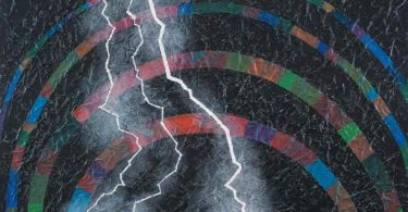 Abstract semicircular rainbows on a black background with lightning bolts striking down.