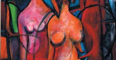 Three abstracted figures in a abstract background.