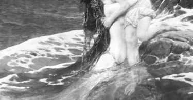 A siren figure comes up from the sea to hug another figure who sits on a rock.