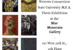 Six different images with text giving information about the Thesis Exhibition.