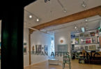 """Gallery with a window that reads """"Viridian Artists Inc."""""""