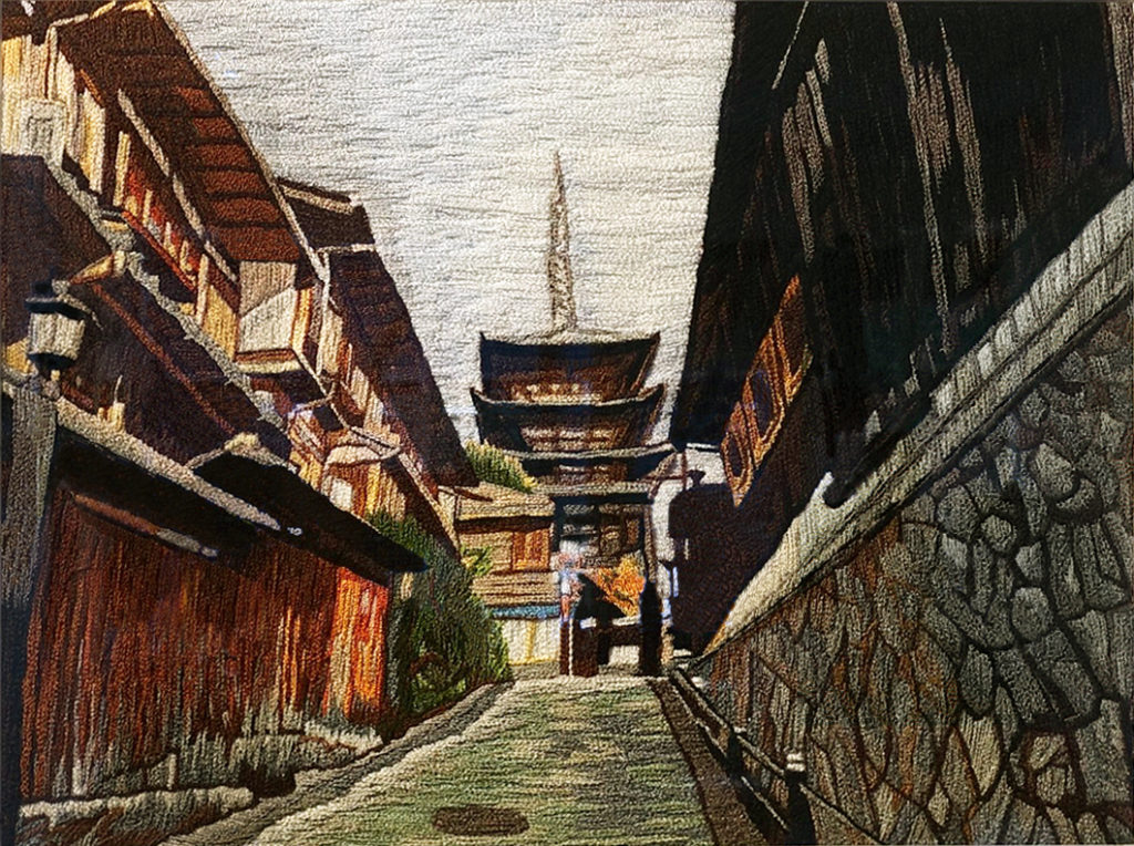 Yasaka, Japan needlework on canvas