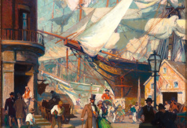 "Figure 1. William James Aylward (1875-1956). Variant of ""The Clipper's Home Was In South Street,"" frontispiece for ""The Clipper-Ship and Her Seamen,"" by W. J. Aylward, Scribner's Magazine, April 1917. Oil on canvas. 30 1/8 × 24 1/8 inches. Delaware Art Museum, Gift of Beverly P. Hoffman in memory of her husband, Howard E. Hoffman, 2019."