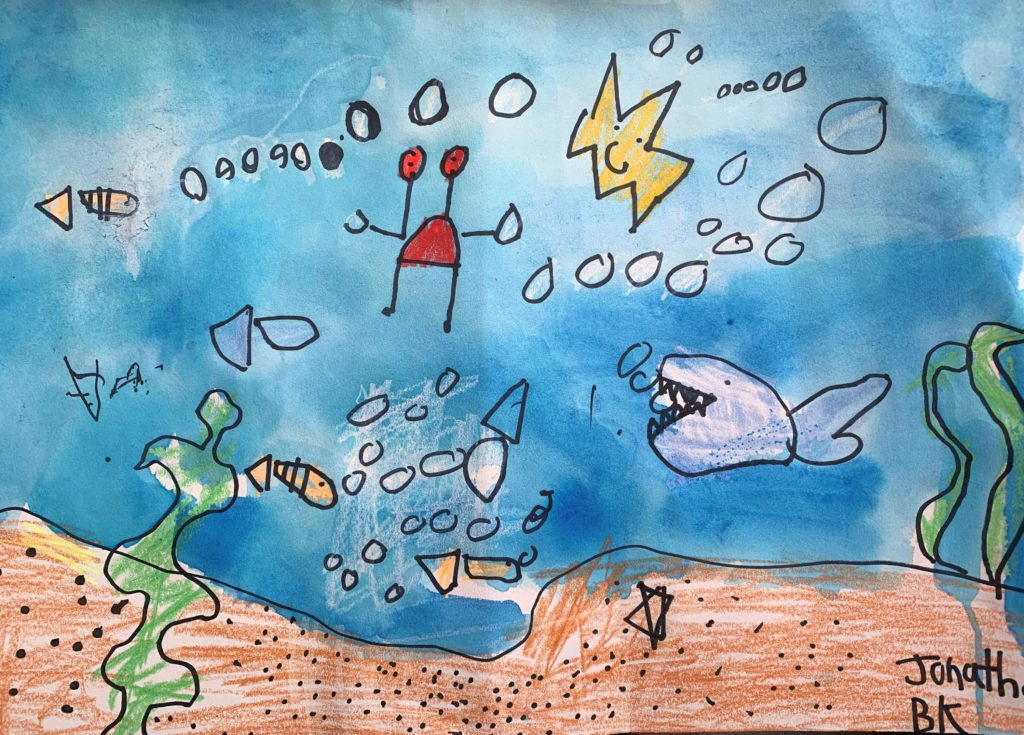 Under the Sea crayon and water color on paper by Jonathan