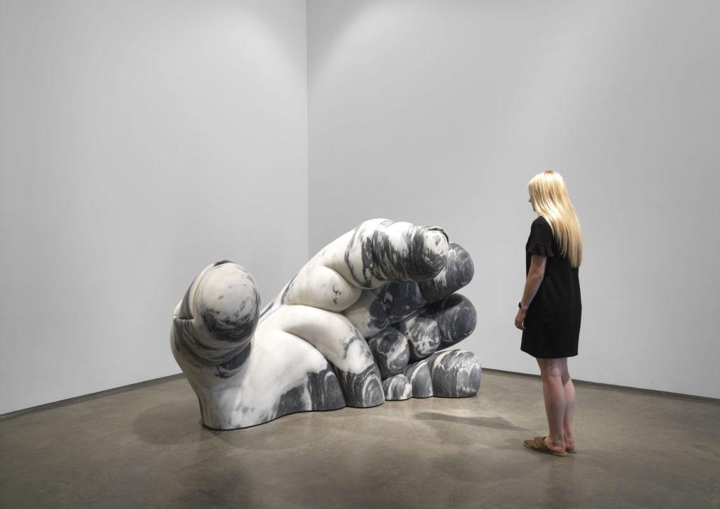 five ton sculpture made of Portuguese Pele de Tigre marble