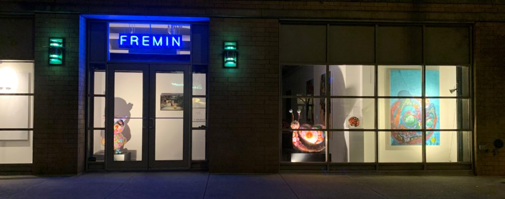 Photo of the Fremin Gallery frontage at night.