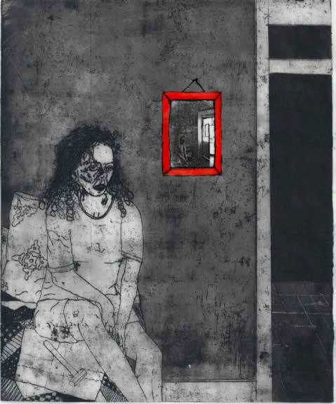 Printwork by Corcoran created by etching and aquatint technique