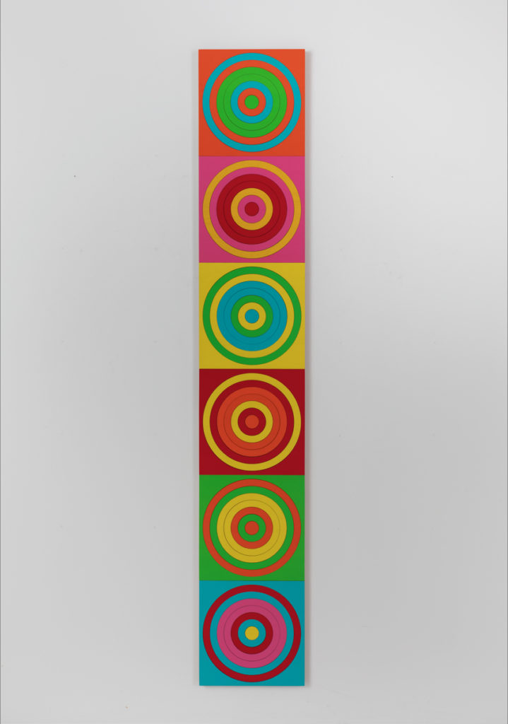 Dennis Beach, Spin #6LC, acrylic on plywood, 81 x 13.5 inches, 2019