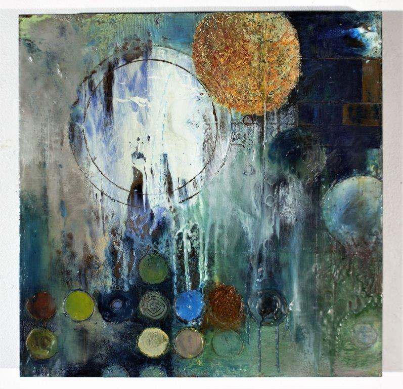 Alan Soffer, White Microcosm, encaustic on board, 16 x 16 inches, not dated