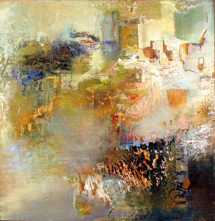 Alan Soffer, A World Apart II, 31 x 31 inches, encaustic and oil on board, not dated