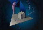 Surrealist painting with a staircase, triangular base, pink cone, pink wire, box, ribbon, on a blue background
