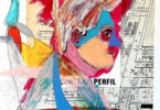 colorful abstract images and a masked head overlaid a black and white architectural drawings of a street with buildings