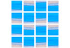 abstract painting in a grid, predominantly blue