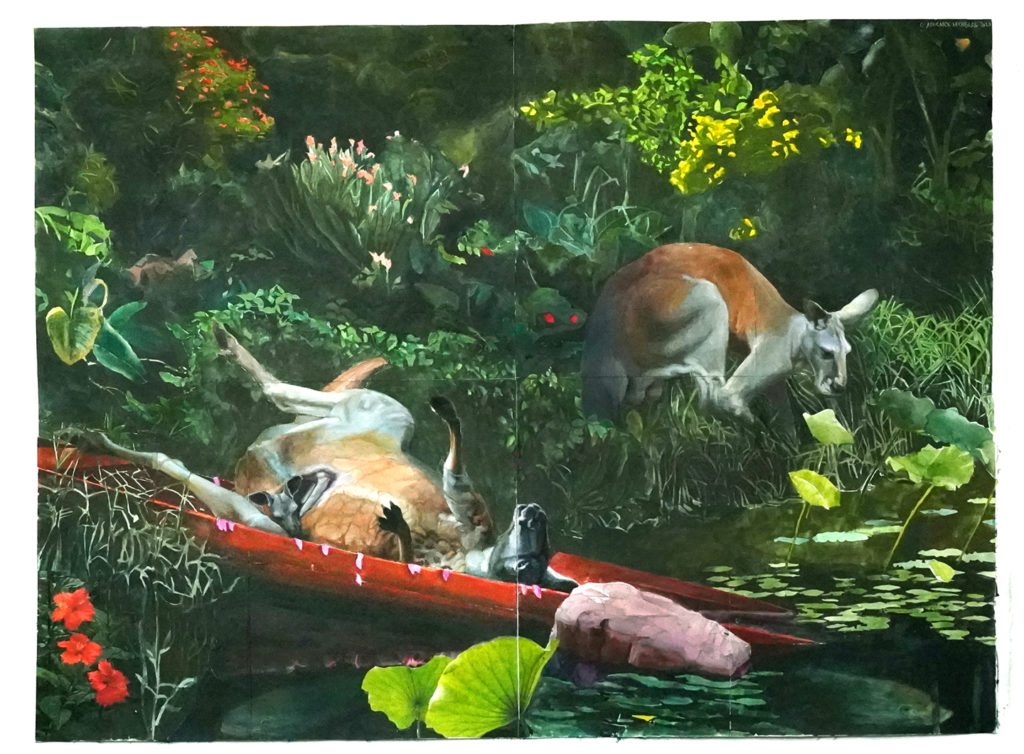 Painting of a verdant bank by water.  Two kangaroos are in the picture, one is about to drink from the water, another is on itd back in a canoe which had been drawn half out of the water onto the bank.