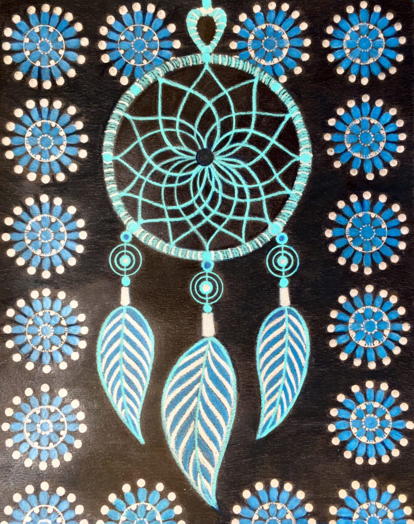 Drawing of a blue dream catcher surrounded by blue circular designs on a black background.