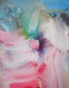 Pink green and blue abstract brush strokes