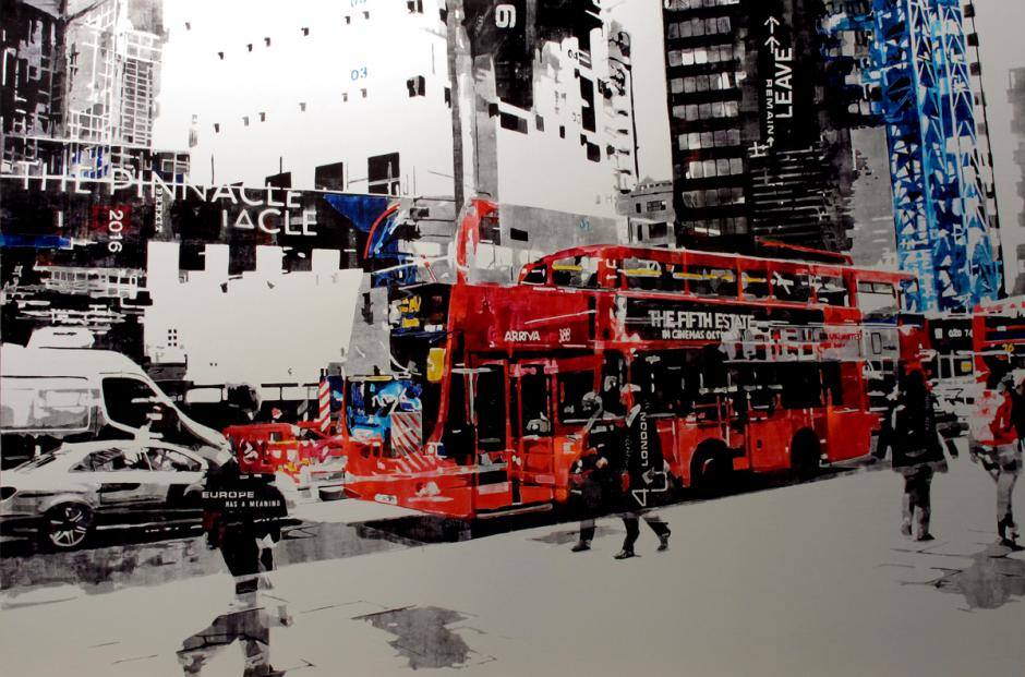 Digital images of a street of London overlaid.  There is a red double decker bus, pedestrians, cars and buildings