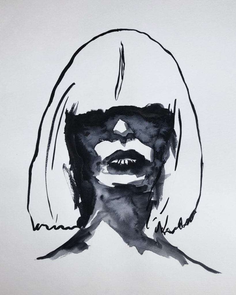 Self portrait in black watercolor.  head and shoulders with shoulder length hair with bangs shadowing the face