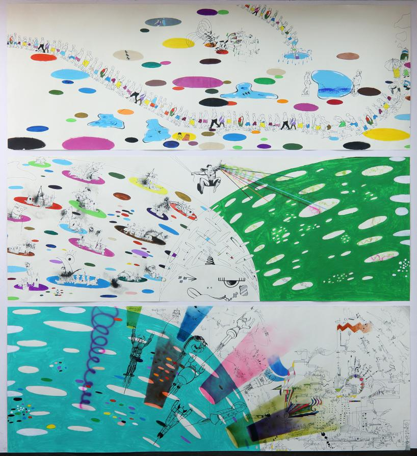 Described as abstract informal by the artist.  In 3 horizontal parts, small people, robots and other characters, on surfaces/planets covered in colorful dots.