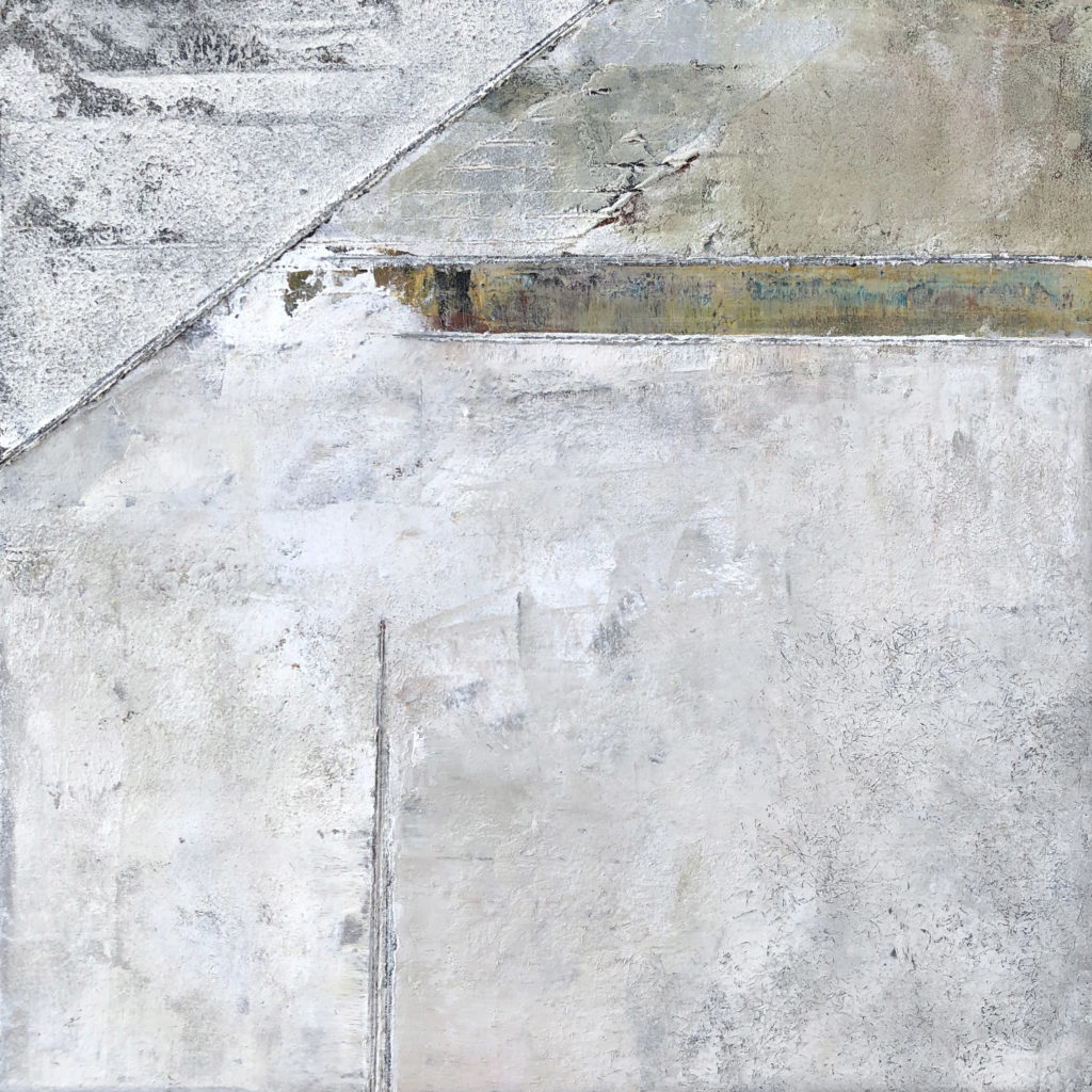 Astract work in tones from white/grey and brown/black.  Swathes of color, overlaid and textured paint