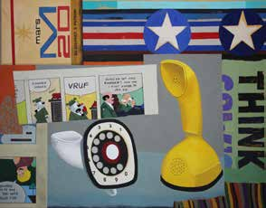 Collage of yellow and white old phones