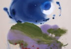 Abstract painting with blues, greens and purple swathes