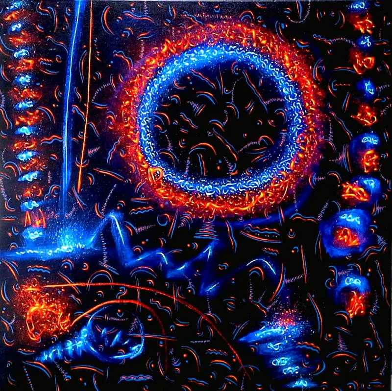 abstract work predominantly using orange, blue and black, florescent and electric sytle