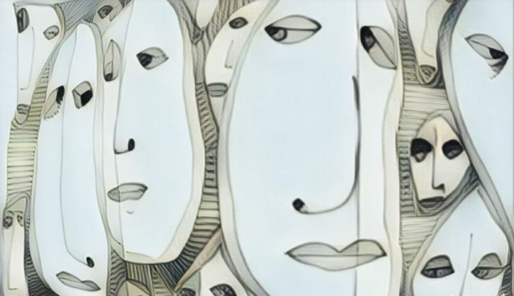 Surrealist painting with many elongated faces with eyes looking sideways .