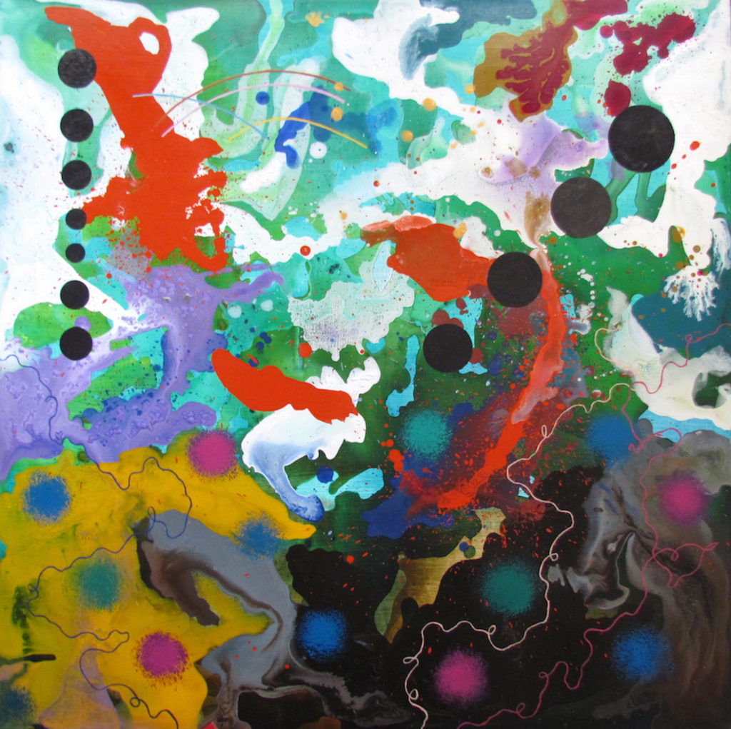 abstract expressionist painting with multi-colored splashes and dots