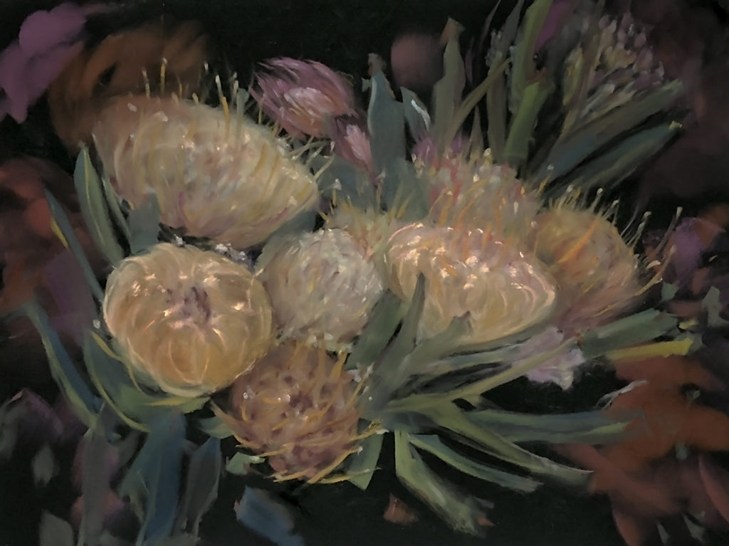 still life pastel painting of a flower plant in yellows and pale pink