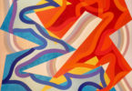 geometric abstract painting with orange, blues, yellow, and various shades of beige amongst other colors