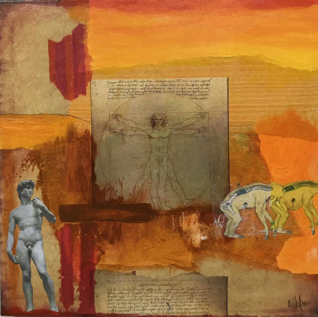 Collage on an varigated orange backcground with Da Vinci's drawings, a photograph of the statue of David, by Michaelangelo, and drawings of prehistoric pre-homo sapiens