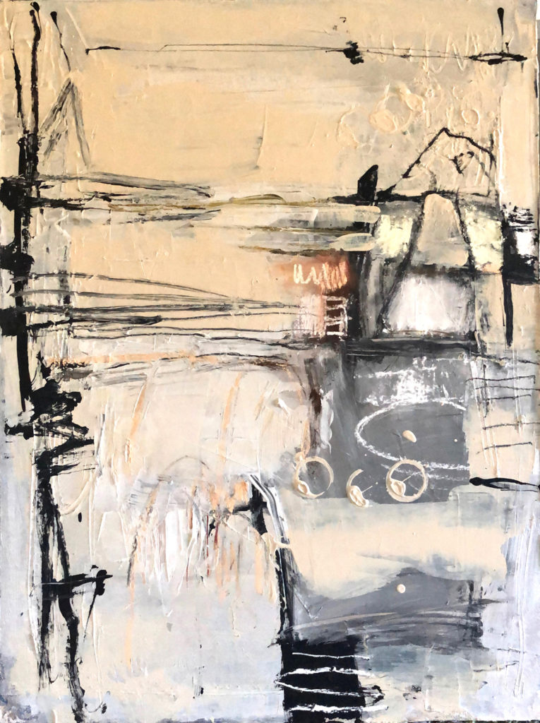 Abstract expressionist work in white black and beige.