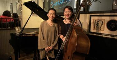 Photograph of pianist Ayako Shirasaki and bassist Noriko Ueda. Photo taken at Grasso's Restaurant in Long Island