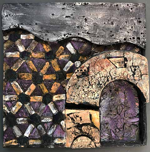 Brown and purple ceramic relief, 16 x 15 x 2.5