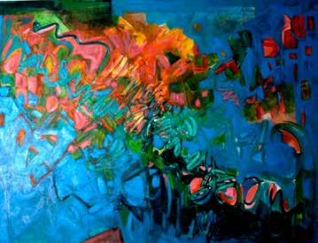 blue and red and green abstract painting