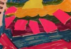 childish felt tip abstract work of a collage like image with a wide range of felt tip pack color palette