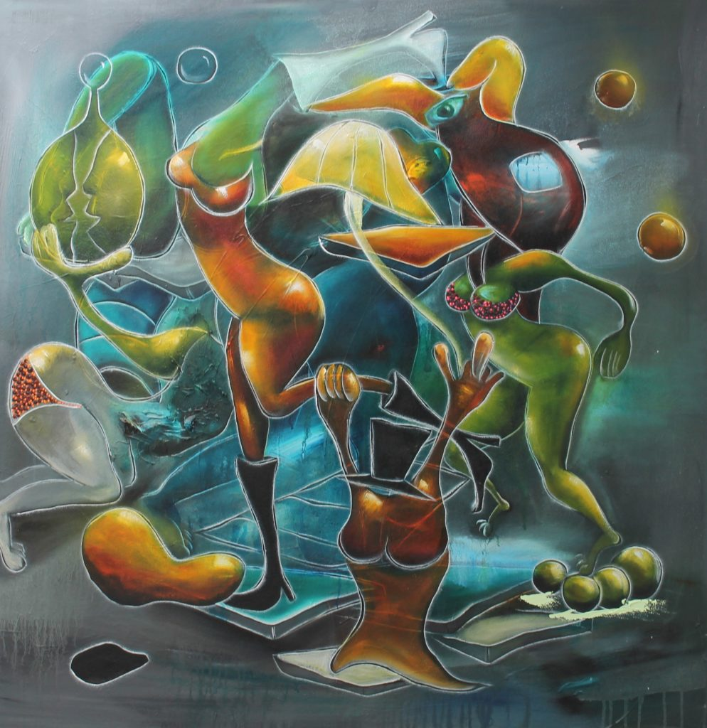 abstract surrealist many headless figures cavorting around with various blobs of color floating around and plant like bodies.  the color palette is bronze orange, brown and green
