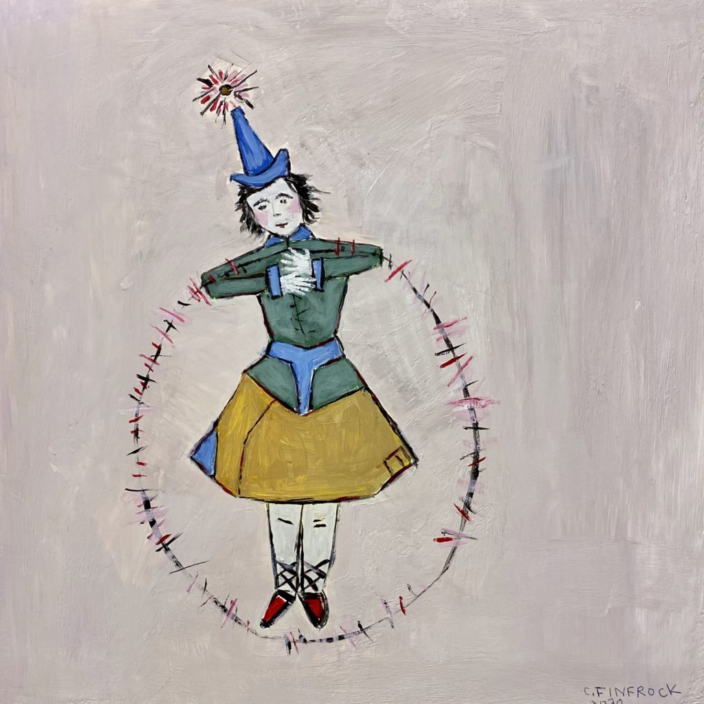 a storybook character with a pointed blue hat with a sparkle/pompom on the end of the point, arms akimbo holding a large ring, wearing a skirt and red shoes laced up the calves.