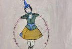 a storybook character with a pointed blue hat with a sparkle/pompom on the end of the point, arms akimbo holding a large ring, wearing a skirt and red shoes laced up the calv