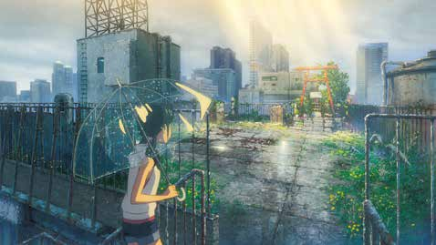 Picture from the movie a girl holding an umbrella looking at a shrine