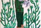 surrealist image of a human like form dressed in green and black plaid with a cat's head, in a forest of cactus like images, holding another cat head. There are three other cat heads at the feet of the figure.