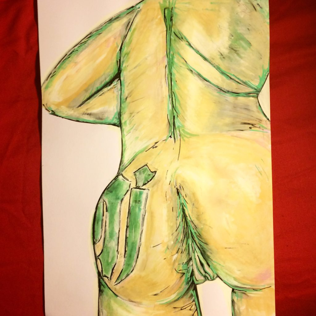 portrait of the artist's back with green beans plastered on her left buttocks