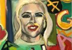 Brightly colored portrait of Lady Gaga. A black frame edge is visible above and to the left of her head. The letters 4 U GAGA are littered below and to the right of her head.