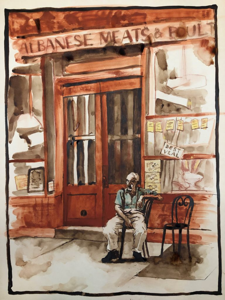 painting of an older man who is sitting on one of two hairs outside a butcher's store names Albanese Meats & Poultry.  The store front is old fashioned.