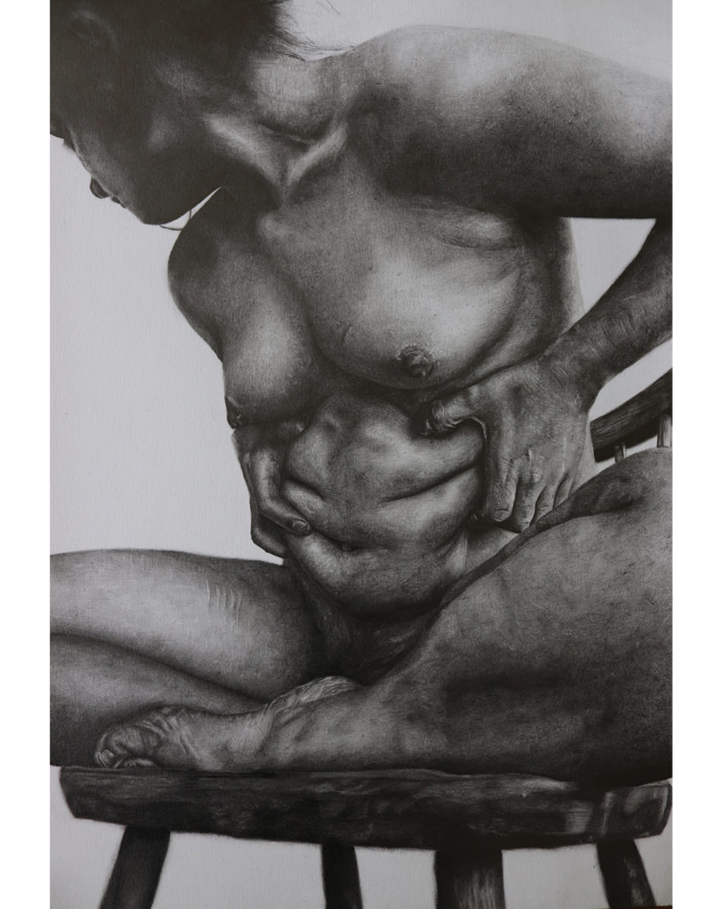 blackand white drawing of  a naked woman sat crosslegged on a stool, gripping her abdomen while looking away to her right.