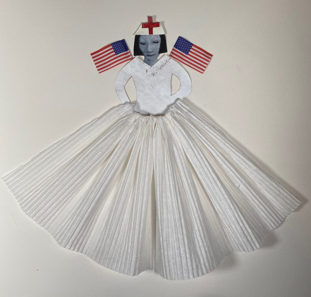 Collage of a nurse in white, with the American flags as wings at her shoulders.  She is wearing a red cross on her hat and a full skirt.