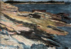 impressionistic painting of a shoreline with water to the right of the shore on the left and along the background.
