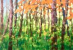 painting of a forest of trees with orange leaves, very green undergrowth and blue skies in the background